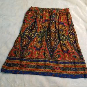 Heather grey colorful midi skirt size 16